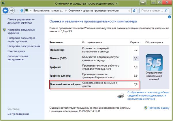 Изменение оценки производительности Windows 7