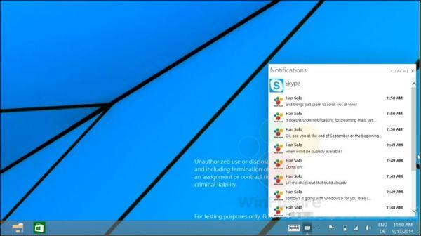 Notifications Windows 9