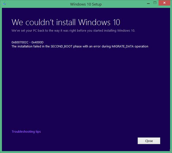 при установке windows 10 выдает ошибку